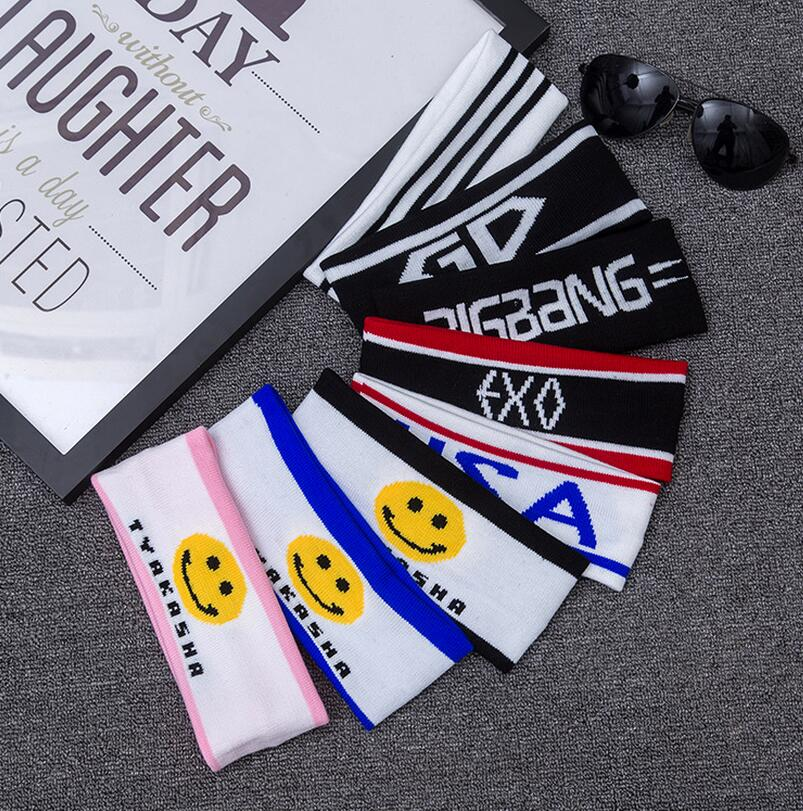 Fashion Women Men Sports Headband Hairband Knitting Lettets SMILE kStretchy Sweatbands Hair Head Band For Ladies Gift(China)