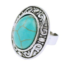 Wholesale Vintage Look Retro Craft Tibet Round Open Rings Charm Silver Plated Assorted Design Turquoise Rings For Women Jewelry
