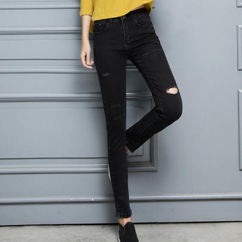 Spring new elastic black trousers broken hole jeans women pencil pants Fashion Large size womens jeansОдежда и ак�е��уары<br><br><br>Aliexpress