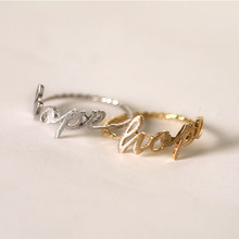 "Classic Letter Ring ""Hope"" Drawing Surface Silver Gold Plating Full Finger Rings Wholesale Free Shipping"