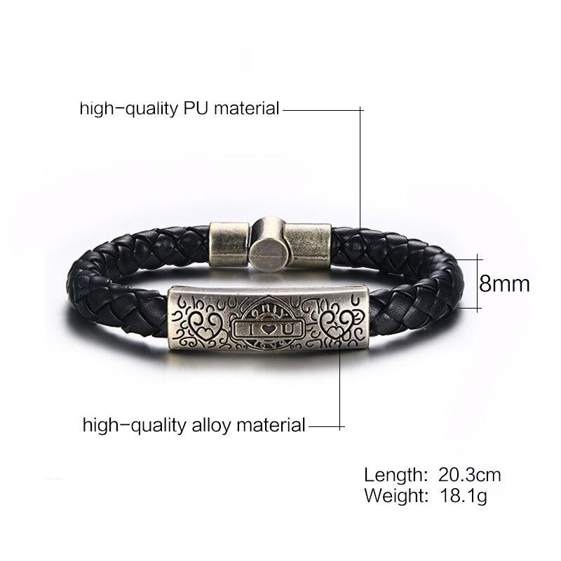 Meaeguet Rock Street Style Vintage Heart I Love U Charm Bracelet & Bangle For Women Men Braid Genuine Leather Rope Chain Jewelry (2)