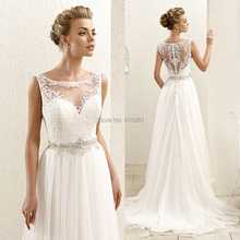 Cheap Beach Wedding Dresses Bohemian Scoop Tank Lace Bridal Gowns 2016 Real Photo Chiffon Summer Illusion Bodice China W3619