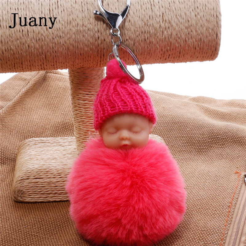 pompom key chain sleeping baby key chain cut rabbit fur ball keychain car key ring women keychian bag charm porte clef4