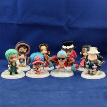 8Pcs/Set 7-12cm Anime One Piece Mini Action Figures The Straw Hats Luffy Roronoa Zoro Chopper Figure Toys Free Shipping