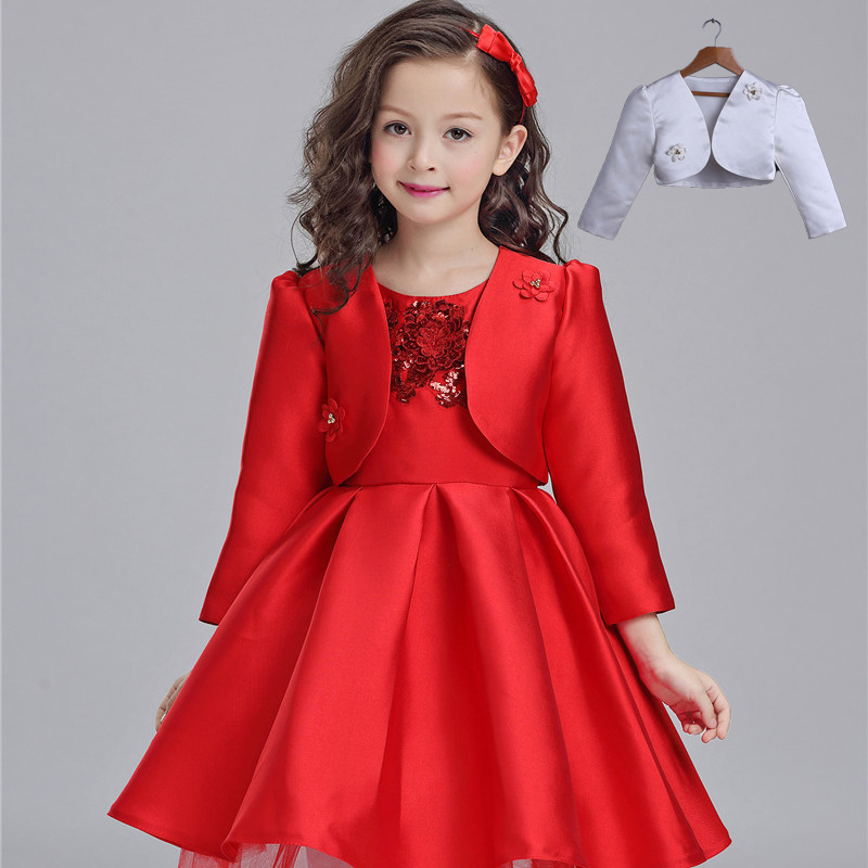 Children Wear New Autumn Winter Girls Princess Dress Suit Kids Clothing Red Silk with Jackets Mesh Flowers<br>