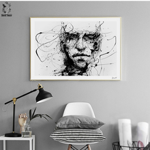 Nordic Style Canvas Art Posters and Prints Painting, Black White Line Portrait Wall Pictures for Home Decoration, Wall Decor(China)