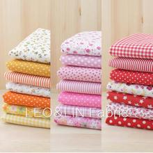 2017 DIY Summer Style Red Orange Yellow Dot Cotton Fabric For Sewing Doll Patchwork Textile 50*50cm (7pieces/lot) 50%OFF(China)