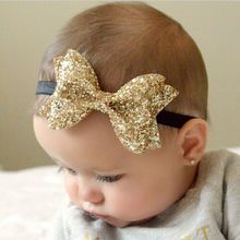 TWDVS Metallic Messy Big Bows Newborn Headband kids Cloth Turban Knot Hair Bands Wrap Hair Accessories h428(China)