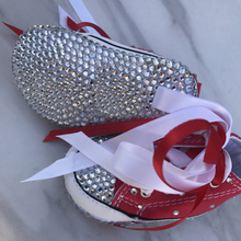 Bling Little Girl red Rhinestones Custom handmade crystal baby shoes Newborn Fancy First Walkers Ballerina shoes Free Shipping(China)