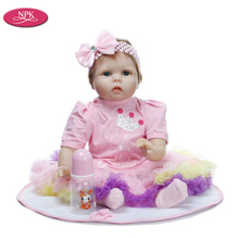NPK Lifelike Children Play House Doll Game 22inch Realistic Babies Reborn DOlls Pink Girl Soft Silicone Newborn Baby Toddle Toys(China)