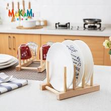 New Wooden Drainer Plate Stand Wood Dish Rack 3 Pots Cups Display Holder Kitchen