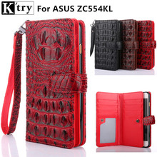 K'try Case For ASUS Zenfone 4 Max ZC554KL Wallet Flip Cover Luxury Crocodile Pu leather + Soft Slicone Cover with Card slots(China)