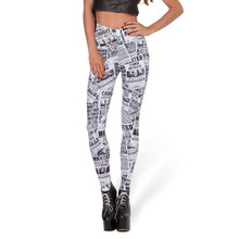 Spring Autumn Thin Slim Leggings Fashion Star English Newspaper Digital Print Women leggings(China)