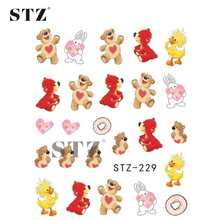 1Sheets Water Transfer Styles Cute Doll Pattern DIY Decor Nails Nail Art Tips Sticker Nail Decals Patch for Polish STZ229