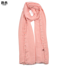 YI LIAN Brand Fashion Design For Women TR cotton solid color Pattern four sides with Pearl Long Summer Scarves/8 Colours /SF842(China)