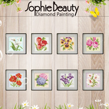 Free shipping diy diamond painting stitch diamond lucky flower resin square drill diamond sticker new arrival photos of wall
