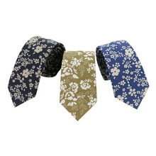 Mantieqingway Skinny Ties for Men Cotton Floral Printed Necktie Black Flower Tie Wedding Bowtie Neckwear Accessories Slim Cravat