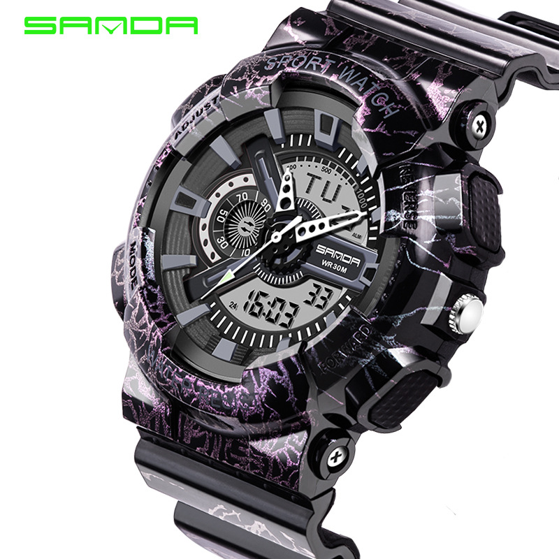 2017 Quartz Digital Camo Watch Men Dual Time Man Sports Watches Men SANDA Shockproof Military Army Reloj Hombre LED Wristwatches<br><br>Aliexpress