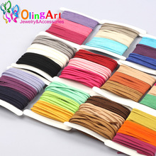 OlingArt 3*1.5mm 9M Faux Suede Cord /flat Leather Cord Rope/Line Accessory earrings Bracelet choker necklace jewelry making 2017
