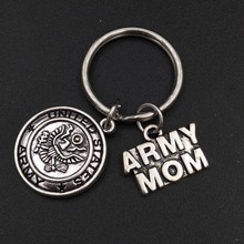 Alloy Metal United States Army Mom Charm Keychain Stainless Stel Keyring Mother's Day Jewelry Gift for Women(China)