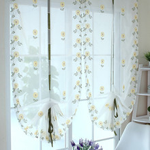 Free Shipping Europe Gauze curtain, Embroider Sheer Voile Window Curtain with hanging loop,Wave Curtain/Balloon Curtain(China)