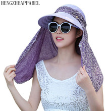 2017 New Outdoor Sunscreen Sun Hat Women Bucket Hats Summer Wide Brim UV Protection Flap Hat Breathable Beach hat Mask Cap
