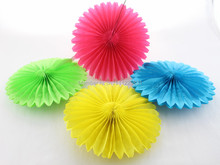 "Party Supplies 10""(25cm) Tissue Paper Fan Wedding Anniversary Decoration Round Paper Fan"