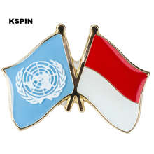 United Nation Indonesia Friendship Flag Badge Flag pin 300pcs a lot(China)