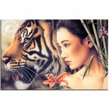 Diy Diamond Painting Girl With Tiger Pictures Cross Stitch Diamond Embroidery Home Decor Needlework Diamond Mosaic Wall Stickers