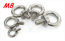 M8*13 304 Stainless Steel Lifting Eye Bolts Round Ring Hook Bolt(China)