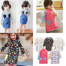 Striped Patchwork Character Girl Dresses Long Sleeve Cute Mouse Children Clothing Kids Girls Dress Denim Kids Baby Girl Clothes