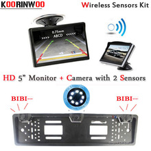 KOORINWOO Wireless Parktronic parking Sensors Buzzer EU European License Plate Frame Car Rear view camera Monitor Stucker Style