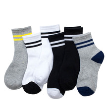 Hot 2017 Spring Socks Boy Baby Cotton Fashion Two Stripe Casual Boys Socks Girl All-Match Socks for Children 3 Pairs/lot(China)