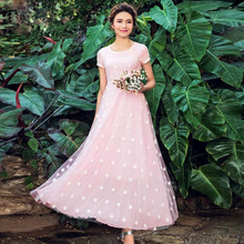 2017 New Spring And Summer Bobemian Beautiful Floral Embroidery Dress Women Plus Size Chiffon Gauze Long Dress