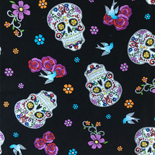 Cotton Plain Patchwork Black Floral Skull Cloth Sewing Fabric Home Decoration Material Unique Novelty Fabric Special Cloth DIY