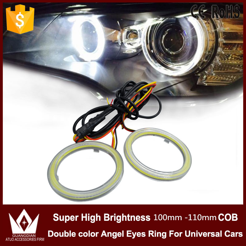Guang Dian angel eyes Cob with turn version white / amber or blue/amber waterproof  halo ring daytime light 100mm or 110mm<br><br>Aliexpress
