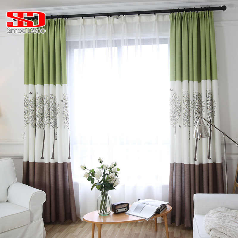 2018 New Printing Cotton And Linen Curtain For Living Room Darkening Tree Brids Cage Coffee White Green Cortina Window Treatment
