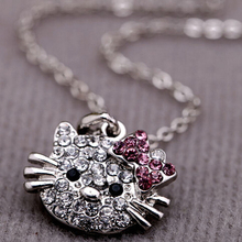 Cute Hello Kitty Cat Design Pendant Chain Necklace Charm Clear Rhinestone Fashion Jewelry Necklace Lovely Cute Cat Girl Necklace