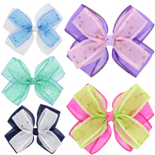 2017 New product 12*10cm  Double layer net yarn bow bright hairpin for newborn hair bow clips hair accessories  HC099
