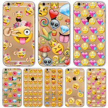 Newest Cute Love Monkey Emoji Patterns Back Cases Cover For Apple iphone 4 4s 5 5s SE 5C 6 6s 6 plus fundas Soft Sillicon Bags