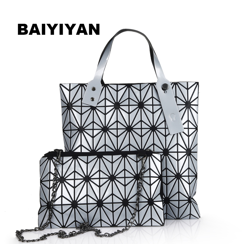 2017 New Laser Package Folding Magic Cube Female Geometric Lattice Beads Bright Package Diagonal Portable Shoulder Bag(China (Mainland))