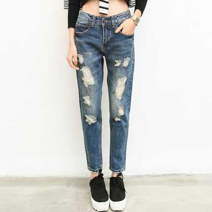 2016 New Fashion Summer Style Women Jeans Ripped Holes Harem Pants Jeans Slim Vintage Boyfriend Jeans For Women A3339Îäåæäà è àêñåññóàðû<br><br>