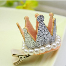 New Princess Crown Hairpins Hair Accessories Resin Diamond Shiny Pearls Barrettes Girls Tiaras Headwear Party Hair Clip