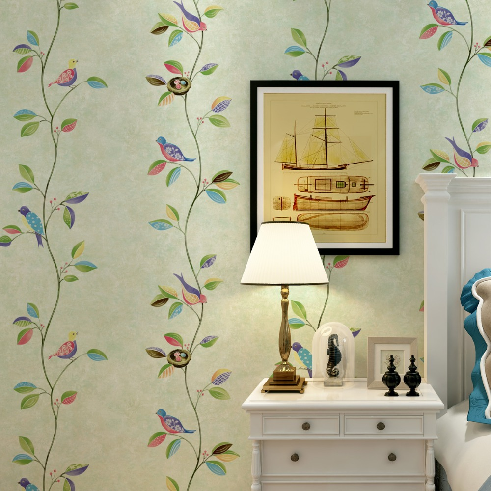 Spring Birds and Floral Mural Wallpaper Cartoon Fantasy Kids for Boys Girls papel de parede<br>