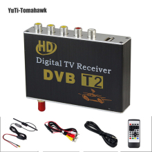 Hot Digital Car TV Tuner DVB T2 Car TV Receiver HDMI 1080P CVBS DVB-T2 Support H.264 MPEG4 HD TV Receiver For Car,Free Shipping