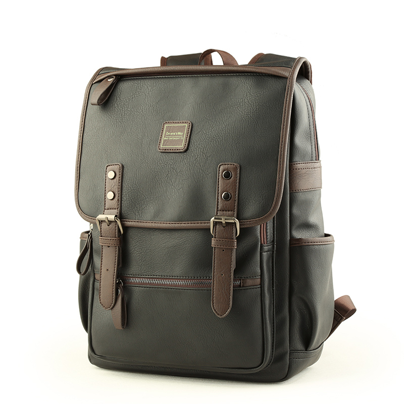 2018 New Fashion Men Backpacks Hot High Quality Pu Leather Male Korean Student Backpack Boy Business Laptop Vintage School Bag<br>