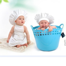 2pcs set Cute Baby hat White Cook Cap girl boy Costume Photos Photography Prop Newborn Hats Apron newborn photography props(China)