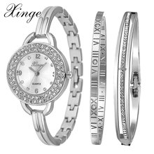 Xinge Brand Luxury Women Bracelet Watch Jewelry Watch Set Wristwatch Waterproof Crystal Gemstone Stainless Steel Rose Gold Watch