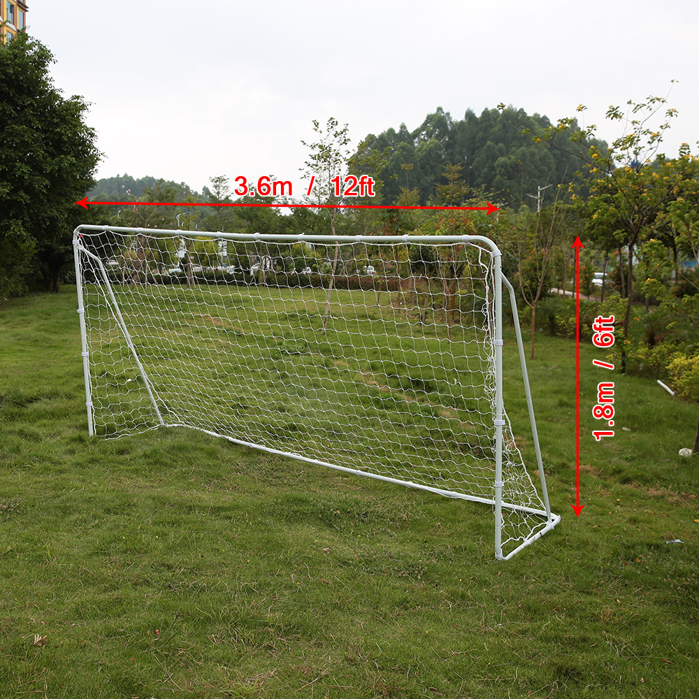 Lixada 12' * 6' Soccer Goal with PE Net Fastener Tape Iron Frame Construction Detachable Sports Large Soccer Goal(China (Mainland))