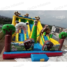 10x6x4.5 meterrsTheme Jungle Inflatable Jumping Fun City ,Bear Kids Park Inflatable Castle For Sale
